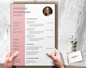 Modern application template german   CV Cover letter Cover sheet attachments   Word & Pages
