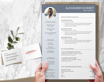 Application templates german blue   CV template, cover letter, cover page, attachments   for Word & Pages   CV Layout   Application Design