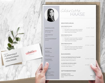 Application template german   CV template, CV layout application   Word, Pages, OpenOffice, LibreOffice