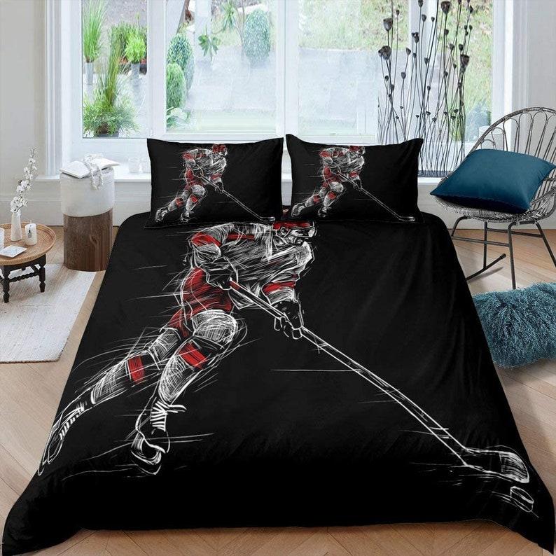 Ice Hockey Bedding Set 3PCS Duvet Cover Pillowcase