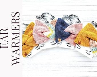 Knit twisted earwarmers/handmade headband earwarmers/earwarmers for teens and adults/ mommy and me earwarmer accessory/gifts under 25