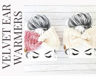 Velvet twist earwarmers/knot front earwarmers/women and teen ear warmers/warm headband/twist front headband/gift under 25