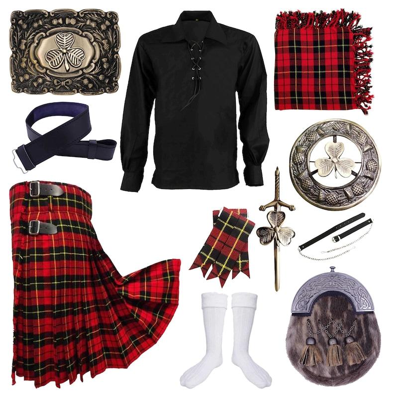Wallace Tartan Highland Kilt Outfit Irish Shamrock Set