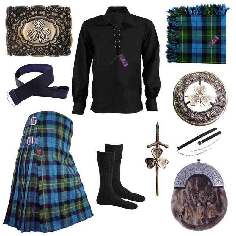 Ancient Gunn Highland Kilt Outfit Irish Shamrock Set