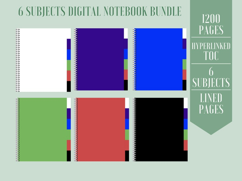 6 Subjects Digital Notebook Bundle 6 in 1 Notebook Digital image 0