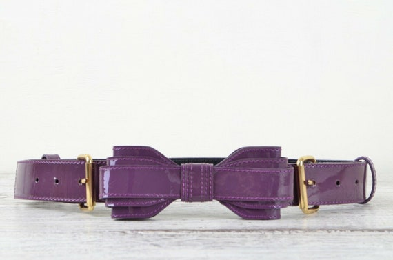 Yves Saint Laurent Rive Gauche purple patent leath