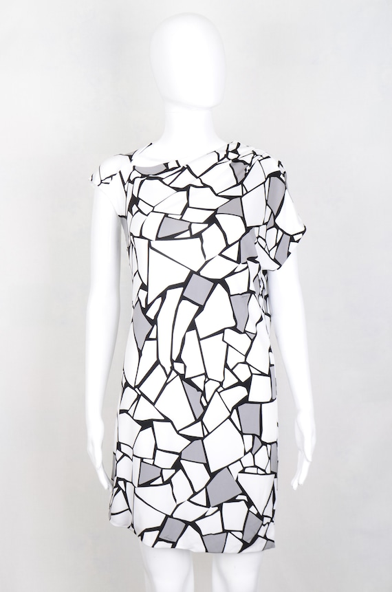 Gucci asymmetrical abstract jersey dress size M