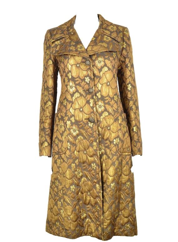 Miu miu by Prada gold brocade knee length coat tre