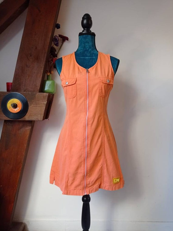 Rare vintage dress 90s Chipie orange size M