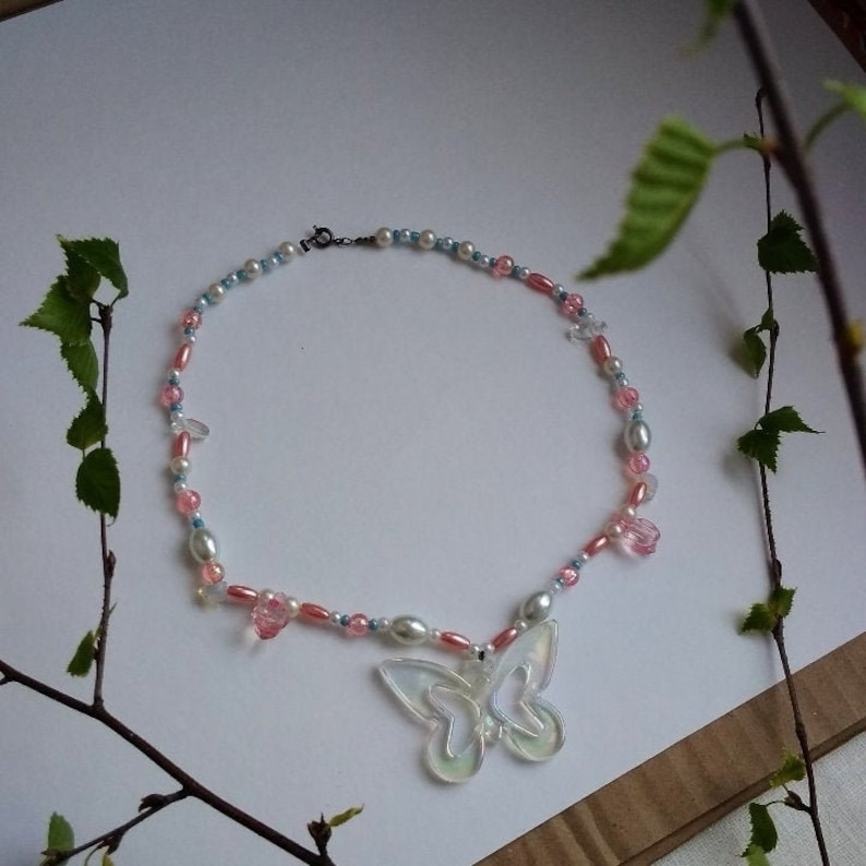 fashion accessory indie kid style necklace decoration with natural opal ethical materials unusual gift Beads with butterfly  pendant