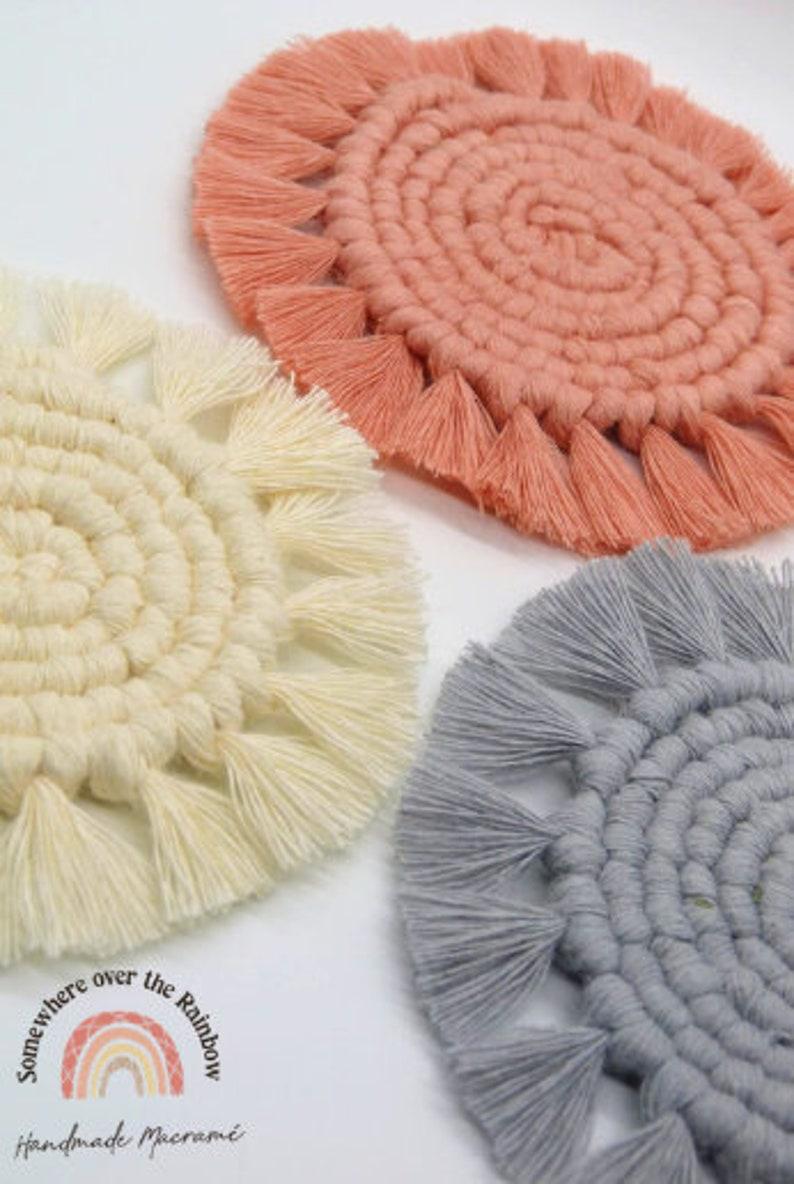 Macrame Coasters Boho Coasters Cup /& Glasses Coasters Recycled Cotton Customisable Eco Friendly Macrame Plant Rug
