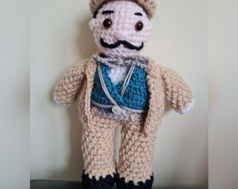 Crocheted Detective Poirot plush toy with removable hat