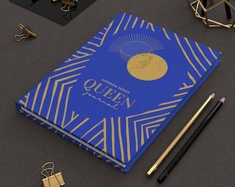 Self Love Notebook Journal Lined Notebook, Blue Gold Queen Journal, Ruled Line Journal, Artsy Journal,  Journal Notebook Blank Page