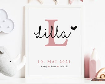 Birth poster girl | Gift for Birth Baptism | Name poster | Baby | Letters Poster | Children's room picture | Wall decoration personalized