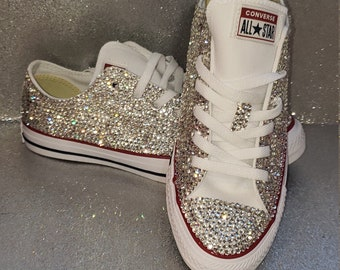Rhinestone converse sneakers, bling bedazzeled sneakers(Please be sure of size before purchasing because we don't give refunds or exchanges)