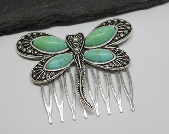 Turquoise Dragonfly Hair Comb, Decorative Dragonfly Hair Accessory, Dragonfly Hair Comb, Gift for Her