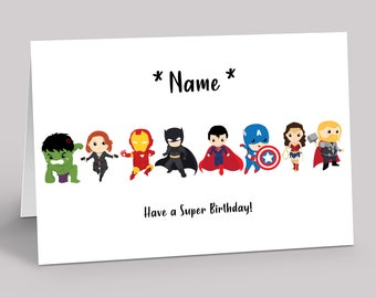 Superhero Personalised Birthday Card - Boys Girls Marvel Avengers Birthday Card - Greeting card for son daughter niece nephew grandchild