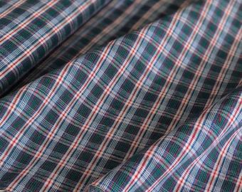 Vintage handwoven Chinese indigo dyed plaid cotton fabric
