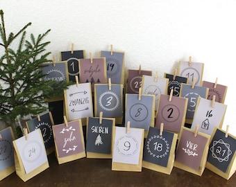 24 Advent calendar cards, Advent calendar postcards, simple Advent calendar