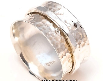 Solid 925 Sterling Silver Spinner Ring Wide Band Meditation Ring Jewelry ss877