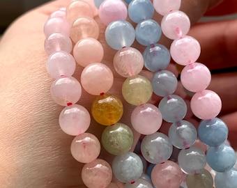 Emotional Healing Comfort from Trauma /& Grief Semi-Precious Light Pink Stone 10mm Large Bead Chunky Stretch Bracelet Morganite Wrist Mala