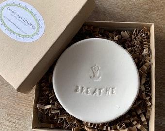 Ring Dish - Jewelry Dish - Breathe - Yoga Gifts - Ceramic Ring Bowl