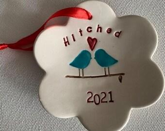 Hitched Love Birds 2021 Wedding Ornament, Christmas Ornament, Wedding Gift Handmade Ceramic Ornament, Love Birds