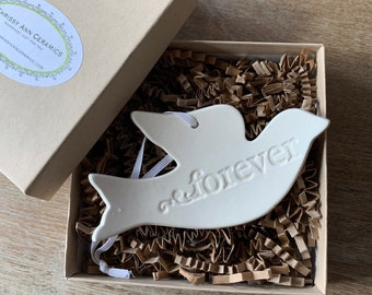 Handmade Ceramic Dove Ornament Forever