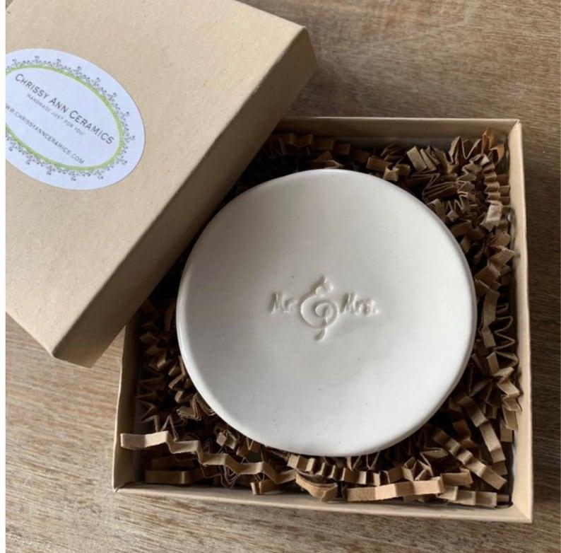Jewelry Dish Anniversary Gift -Mr /& Mrs  Ring Bowl Engagement Gift Ring Dish Wedding Gift Ceramic Ring Bowl