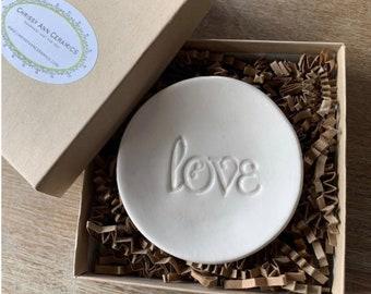 Ring Dish - Jewelry Dish - Ceramic Ring Bowl - Engagement Gift - Wedding Gift - Anniversary Gift - Love Ring Bowl