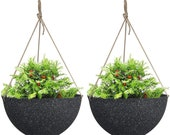 Large Hanging Planters for Outdoor Plants - Hanging Flower Pots Weathered Gray -13.2 quot , Set of 2