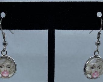 Marilyn Monroe earrings  1 inch studs wood block earrings  resin earrings  art inspired jewelry