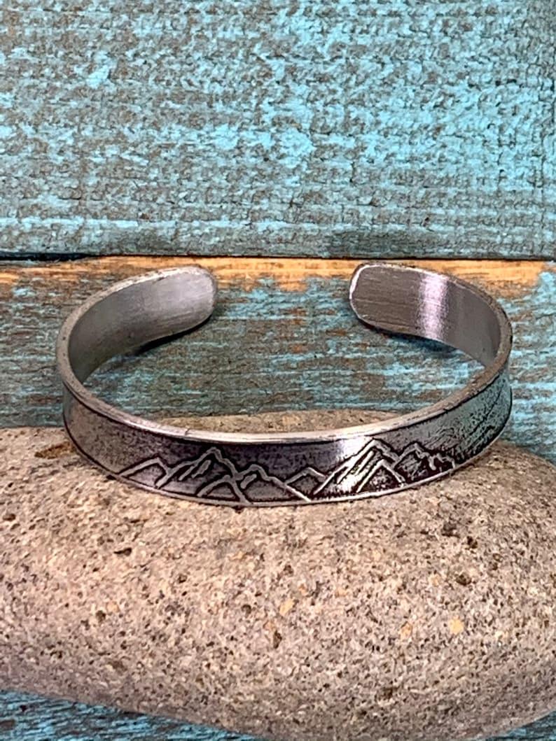 Pewter mountain bracelet cuff bracelet hand etched mountain design versatile and comfortable mountainoutdoor lover