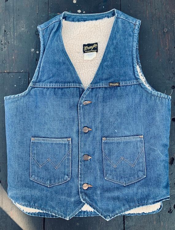 70's Wrangler No-Fault Denim Fleece Lined Vest