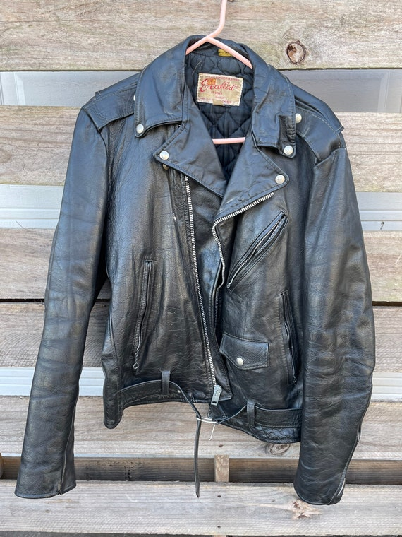 1950's Excelled 100% Black Leather Motorcycle Jack