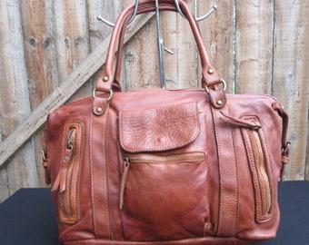 Large aged leather model bag