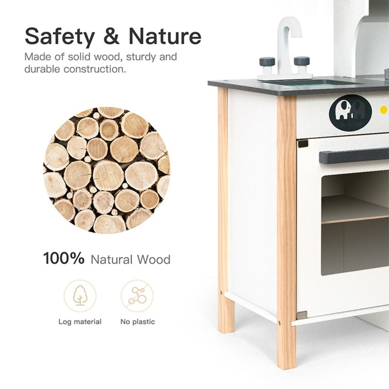 Big Wooden Play Kitchen Toys Pretend Play Toys for Kids Boys Toddlers Girls