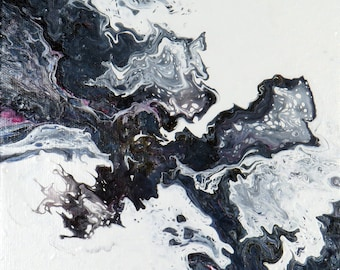 Abstract Fluid Pour Painting- Lion Head -  8 X 10 X 1.5