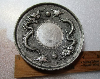 Vintage silver Plated Cup Plate of Japanese Emperor and Empress/' Golden Wedding Anniversary Rare