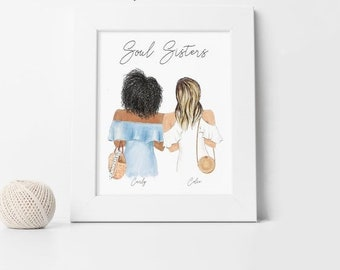Original watercolor Illustration Whimsical Swirly hair Portrait Women Sisters Friends Art Gifts for Her