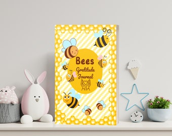 Bees Gratitude Journal for Kids   3 printable PDF + cover ready to print + 4 png images   Each page Not the same - INSTANT DOWNLOAD