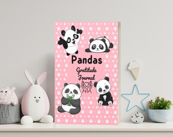 Panda Gratitude Journal For Kids   3 printable PDF + cover ready to print + 4 Png images   Each page Not the same - INSTANT DOWNLOAD