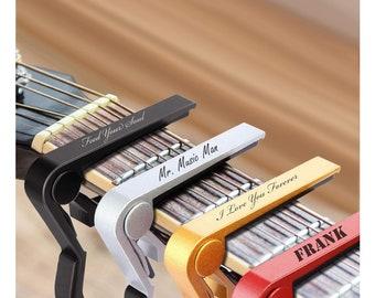 Personalized Guitar Capo Capos Clamp Cap Guitars Music Aluminum Metal Quick Change Clip Acoustic Electric Custom Engraved Name Musician Gift