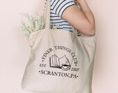 The Finer Things Club Tote Bag, The Office Tote Bag, Dunder Mifflin Paper Co, Dwight Schrute, Michael Scott, The Office TV Show