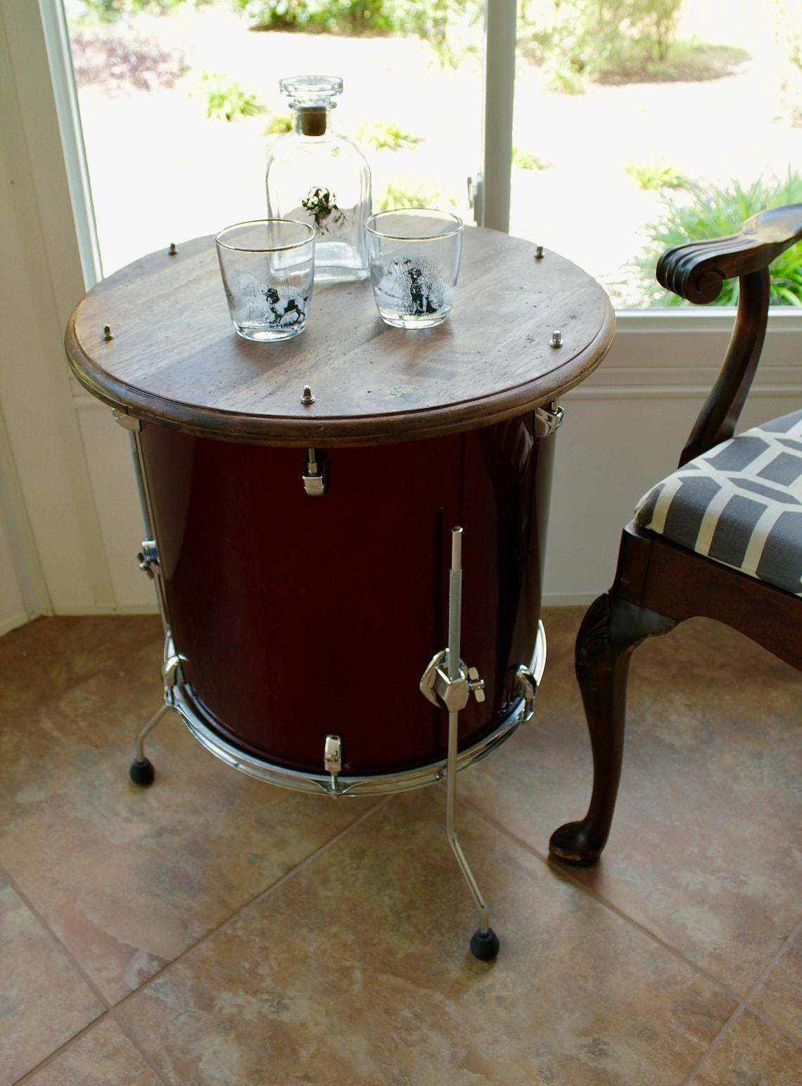 Repurposed Drum Side Table