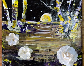 Night moon landscape is a one of a kind hand painted mixed media canvas featuring paper flowers scattered amongst a nighttime landscape