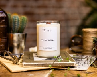 Tuscan Leather Scent Lockdown Gifts Upcycled Vegan Wine Bottle Candle Eco Friendly Candle Soy Candle