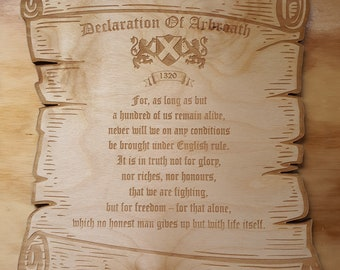 Declaration of Arbroath Wooden Plaque Scroll, Scotland, Indy Ref, Anti Tory, Scottish Independence, Saor Alba, YES, Made in Scotland