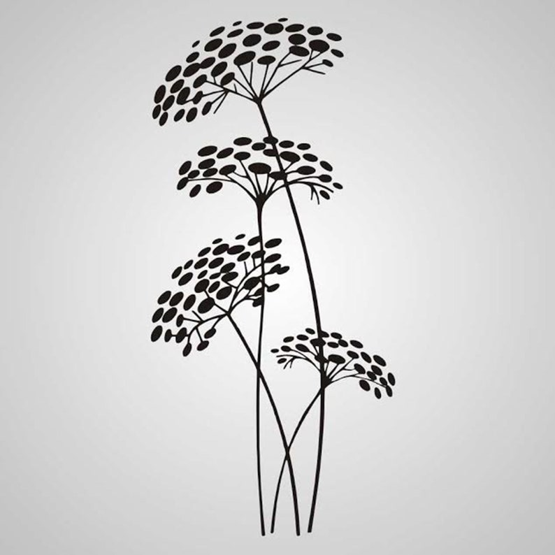 Fennel Stalk Flower Reusable Stencil Sizes A5 A4 A3 Romantic Shabby Chic Craft DIY  F1