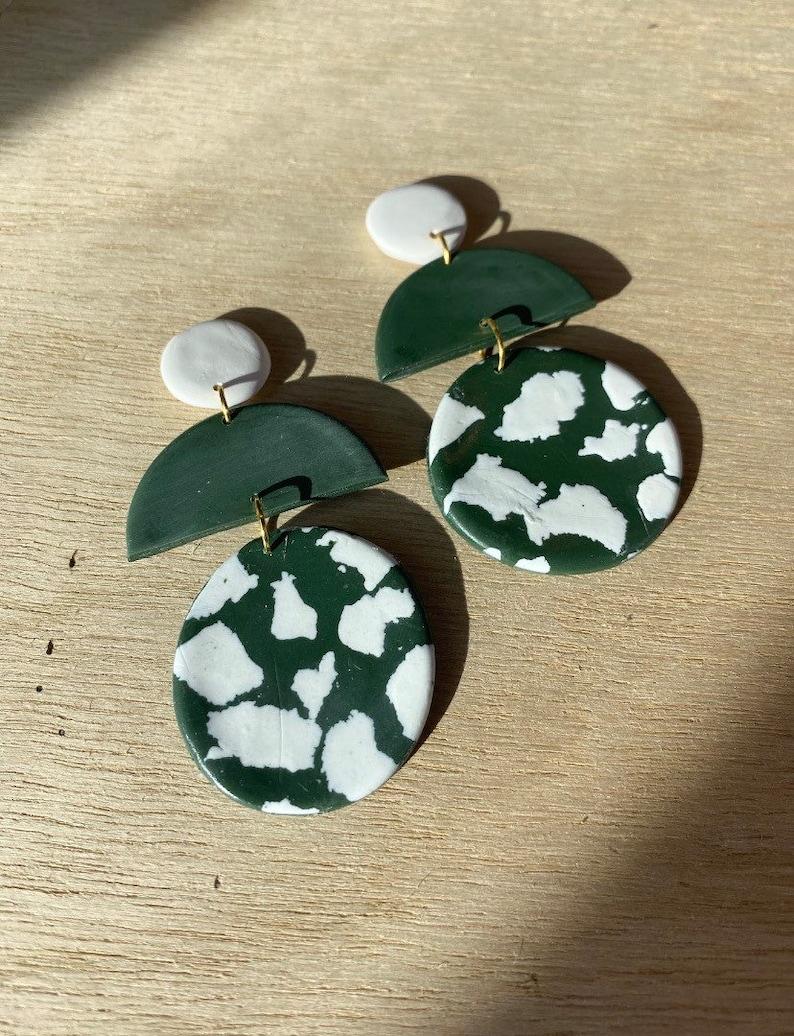 Statement Jewelry Trendy Earring Jewelry Lightweight Dangle Stud Handmade Polymer Clay Earrings Geometric Gold Boho Earring